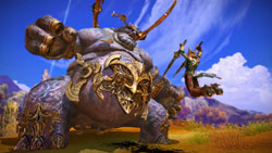 An Aman warrior vs Kumas in Tera