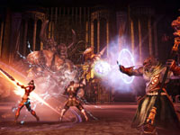 Party-based combat against Destroyer in a dungeon in Tera