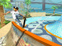 In-game character curling up to a fountain in Shaun White Skateboarding for Wii