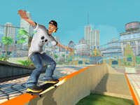 Grinding a rail in Shaun White Skateboarding for Wii