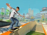Grinding a rail in Shaun White Skateboarding for Wii