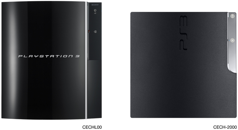 The upright height of previous PS3 models compared to the smaller of