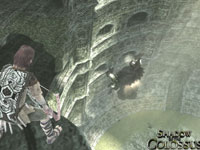 The Wanderer eying a Colossi climbing a wall in Shadow of the Colossus