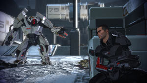 Commander Shepard involved in shooter gameplay in Mass Effect 2