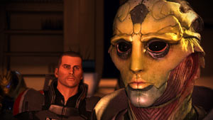 Commander Shepard addressing the Drell assasin Thane Krios in Mass Effect 2