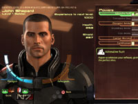 The Commander Shepard customization screen from in Mass Effect 2