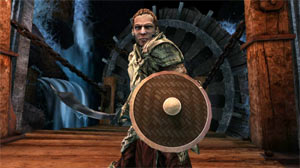 A warrior character with sword drawn and shield at the ready in Dungeons & Dragons Daggerdale