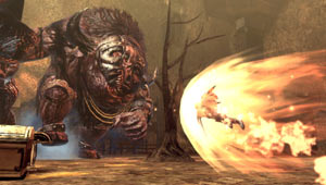 Battling a minotaur in Soul Sacrifice