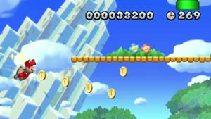 Flying Squirrel Mario gathering coins while avoiding mushrooms in New Super Mario Bros. U