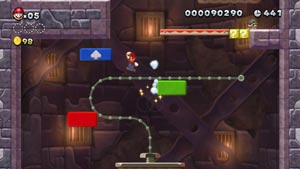 Mario using Boost Blocks to navigate vertically in New Super Mario Bros. U