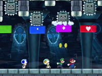 Falling, angry spikey blocks held at bay by boost blocks in New Super Mario Bros. U