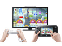 New Super Mario Bros. U two-player multiplayer action using the gamepad and a Wii Remote Plus