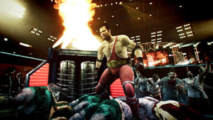 Frank West wrestling zombies in the Terror is Reality game show in Dead Rising 2: Off The Record
