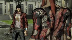 Travis Touchdown facing down a fellow assassin in No More Heroes: Heroes' Paradise