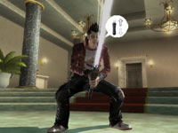 An example of in-game PlayStation Move support within No More Heroes: Heroes' Paradise