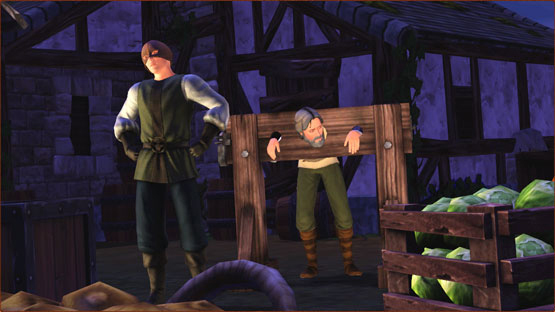 Sims executioner holding an other Sim in stocks in The Sims Medieval