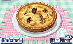 The mushroom quiche challenge entered into player's Picture Diary in Cooking Mama 3: Shop & Chop