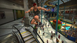 Catching some air down an escalator in 'Dead Rising'