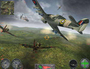 RAF squadron coming up on a fight in progress in Combat Wings: The Great Battles of WWII