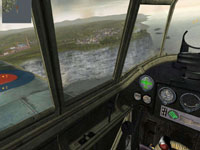 Inside the cockpit of a British plane looking out over the cliffs of Dover in Combat Wings: The Great Battles of WWII