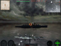 A torpedo bomber making a run against a battleship at night in Combat Wings: The Great Battles of WWII