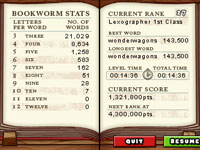 Stats screen from Bookworm