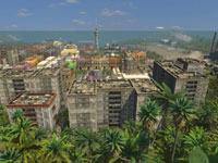 Looking out on a city of Tropico from the jungle in Tropico 3