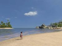 A peaceful Caribbean beach setting in Tropico 3