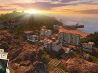 The sun setting over a Tropico city setting in Tropico 3