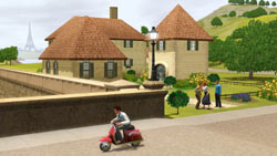 The parisian countyside seen from a scooter in The Sims 3: World Adventures Expansion Pack