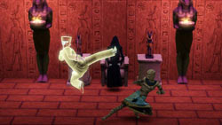 Using your martial arts skills on a mummy in The Sims 3: World Adventures Expansion Pack