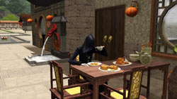 The Grim Reaper having lunch at a cafe in China in The Sims 3: World Adventures Expansion Pack