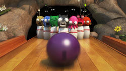 Tenpin mini-game screen from Squeeballs Party for Wii