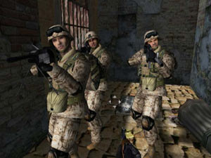 Your fire team ready for action in Marines: Modern Urban Combat
