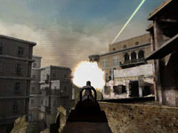 A gunflash from a rooftop sniping spot in Marines: Modern Urban Combat
