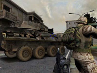 An urban combat environment supported by an armored vehicle in Marines: Modern Urban Combat