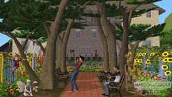 A bountiful garden created in the shadow of a house in The Sims 2 Mansion & Garden Stuff Pack