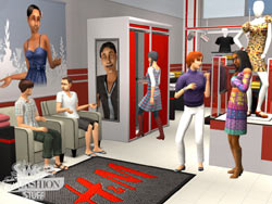 A giddy group of sims shopping at an H&M store in The Sims 2 H&M Fashion Stuff Pack