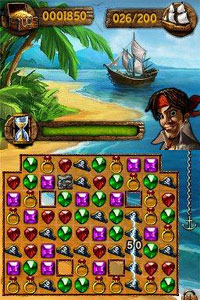 Pirate and match 3 gameplay screen from Jewels of the Tropical Lost Island
