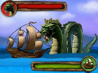 Battling a sea serpent though match 3 play in Jewels of the Tropical Lost Island