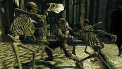 Human warrior battling skeleton enemies in Divinity II: Ego Draconis