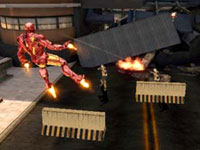 Iron Man attacking ground targets from the air in Iron Man 2