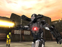 War Machine engaging an enemy via a yellow power blast in Iron Man 2