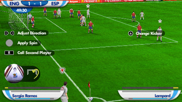 The PSP version's new shooting mechanic in 2010 FIFA World Cup