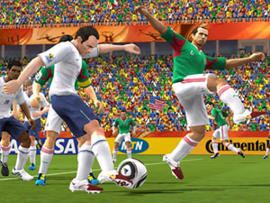 Dribbling a ball in the open field against a defender in 2010 FIFA World Cup