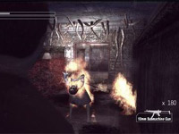 An in-game combat screen against a Shadow enemy in Deadly Premonition