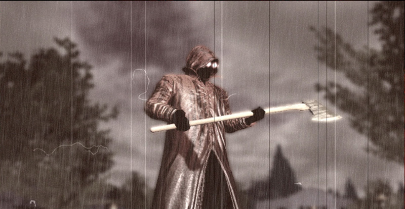 The Raincoat Killer with his axe in Deadly Premonition