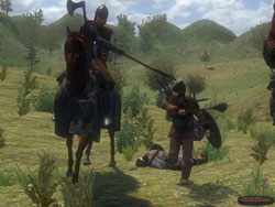Calvalry unit dominating infantry in Mount & Blade: Warband