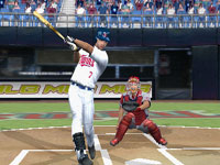 Joe Mauer taking a big cut at a pitch in MLB 10: The Show
