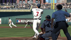Joe Mauer at bat with runners on base in MLB 10: The Show